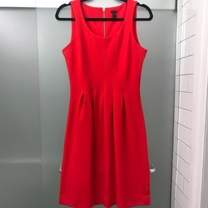 Red J.Crew Fit and Flare Dress